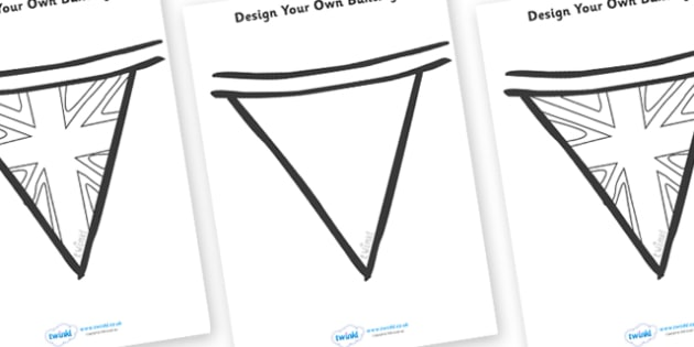Design Your Own Bunting- Royal Wedding - The Royal Wedding, fine motor skills, bunting, colouring, designing, activity, Prince William, Kate Middleton, The Royal Wedding, April 29th, Queen, Prince philip, marriage