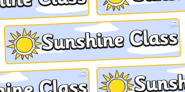Sunshine Themed Classroom Display Banner - Themed banner, banner, display banner, Classroom labels, Area labels, Poster, Display, Areas
