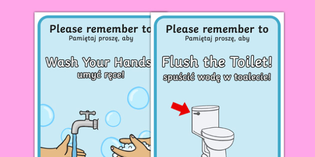 Using the Toilet Reminder Posters Polish Translation - polish, toilet, reminder, posters