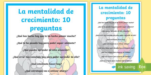 Póster DIN A2: 10 preguntas - La mentalidad de crecimiento - preguntas, mentalidad de crecimiento, mentalidad fija, mural, murales, exponer, exposición, decorar