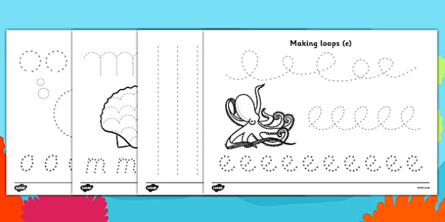 Under the Sea Pencil Control Worksheets - under the sea, under