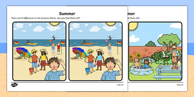 Summer Spot the Difference Activity - seasons, activities, games
