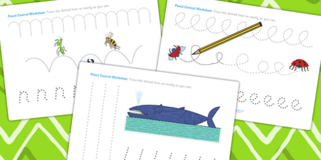 Pencil Control Sheets to Support Teaching on The Bad Tempered Ladybird - motor skills
