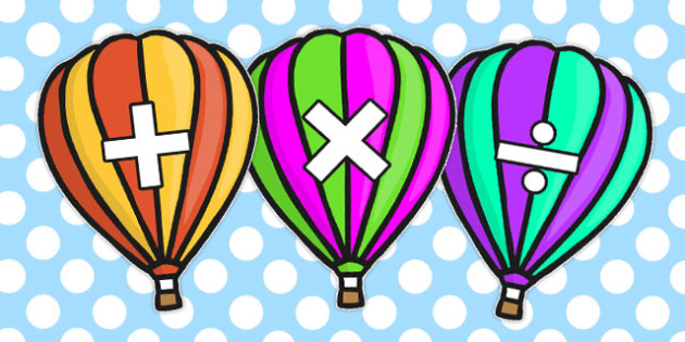 Math Symbols On Hot Air Balloons - math, math display, symbol