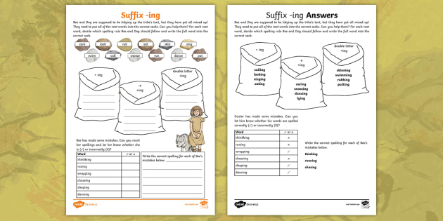 new ks2 stone age adding suffix ing activity sheet year. Black Bedroom Furniture Sets. Home Design Ideas