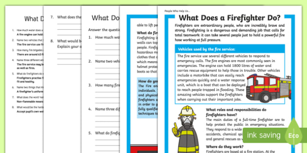 What Does A Firefighter Do? Differentiated Reading Comprehension Activity