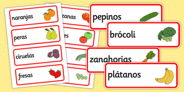 free spanish fruit vocabulary cards literacy visual aids fruits. Black Bedroom Furniture Sets. Home Design Ideas