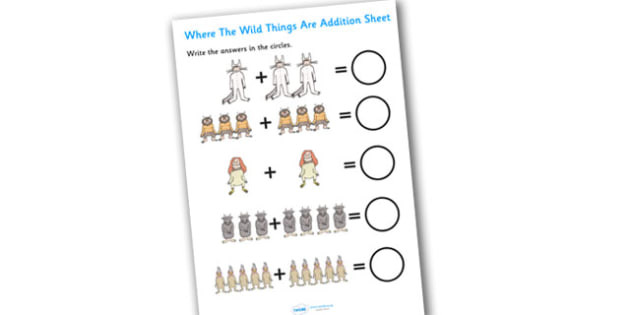 Addition Sheet to Support Teaching on Where the Wild Things Are - where the wild things are, addition, sheet, worksheet, where the wild things are addition, numeracy, maths