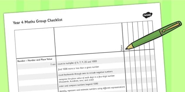 2014 Curriculum Year 4 Maths Assessment Group Checklist - numeracy