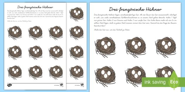 Drei französische Hühner Arbeitsblatt - Mathe, Rechnen