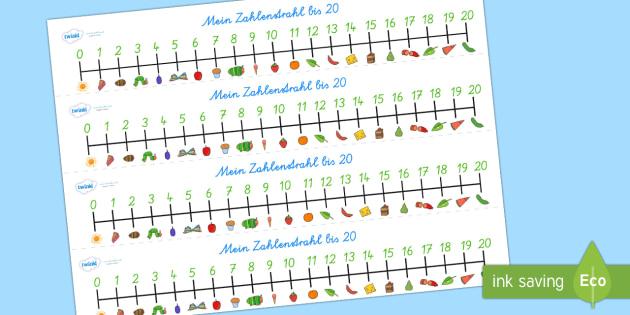 Die Kleine Raupe Nimmersatt 0 bis 20 Zahlenstrahl