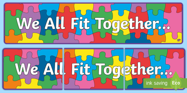 we all fit together display banner transition  jigsaw bulletin board clip art image bulletin board clipart about the bible