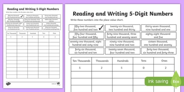 place value reading and writing 5 digit numbers worksheet. Black Bedroom Furniture Sets. Home Design Ideas