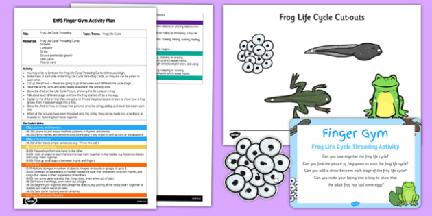 EYFS Frog Life Cycle Threading Finger Gym Plan and Resource Pack - lacing, frogspawn, froglet, tadpole, thread, lace, fine, motor, control, skill, skills, growth, growing, eyfs, early years