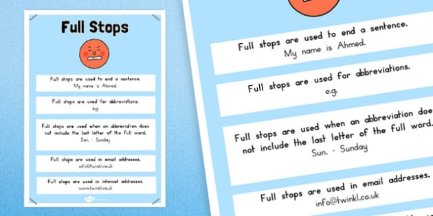 Full Stops Punctuation Poster - australia, punctuation, full stops