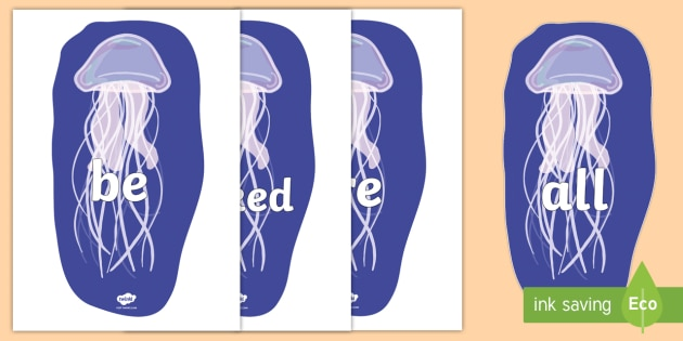Tricky Words on Jellyfish - Tricky words, DfES Letters and Sounds, Letters and sounds, display, words