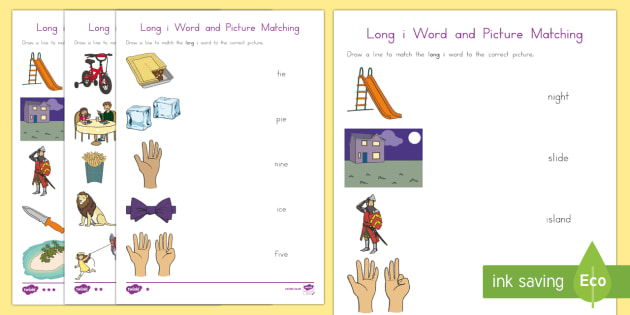 Long i Word and Picture Matching Differentiated Worksheet / Activity Sheets