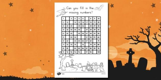 Halloween Missing Numbers Number Square - Spooky, October, grid, numbers, activity, filler, worksheet, sheet