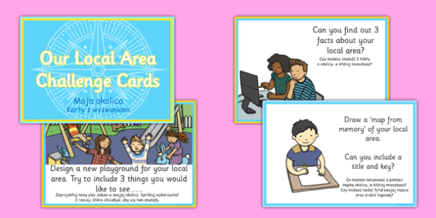 Our Local Area Challenge Cards Polish Translation - polish, our local area, challenge, cards, local area