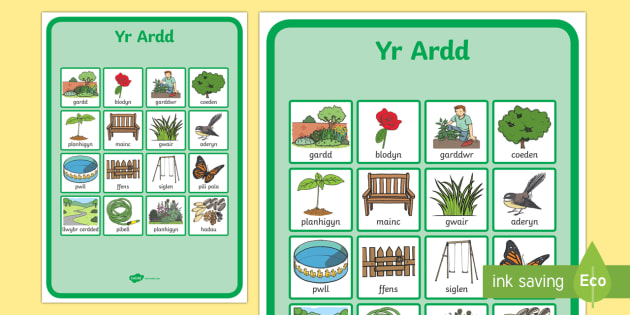 Gardening Words Display Posters Welsh - welsh, role play