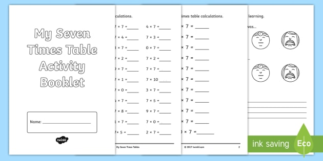 Seven Times Table Activity Booklet Multiplication Table