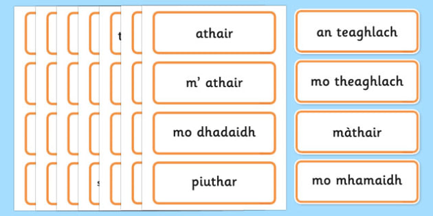 Scottish Gaelic Family Word Cards - scottish gaelic, family, family word cards, word cards, family keywords in scottish gaelic, language, languages, scotland, key words, flash cards, flashcards, important, main, gaels, celtic, literacy, aids, ourselv