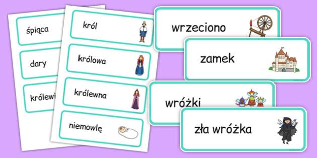 Karty ze słownictwem Śpiące królewna po polsku - baśnie