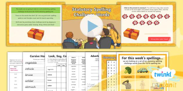 PlanIt Y5 Term 1B W6: Statutory Spelling Challenge Words Spelling Pack - Spelling Packs Y5, spelling, Y5, year 5, statutory, challenge,weekly, weeks, lists, SPaG, GPS, commo