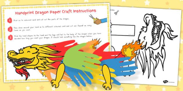 Chinese New Year Handprint Paper Dragon Craft - australia, craft