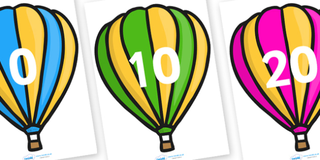 Counting in 10s on Hot Air Balloons (Stripes) - Counting, Hot Air Balloon, Numberline, Number line, Counting on, Counting back, even numbers, foundation stage numeracy, counting in 2s