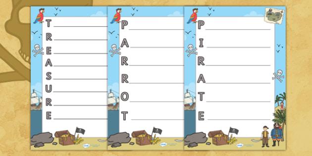 Pirates Acrostic Poem Template - pirates, acrostic poetry, poems