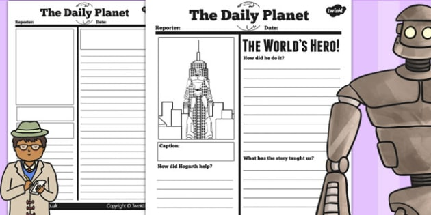 The Iron Man Newspaper Report Differentiated Worksheets - story