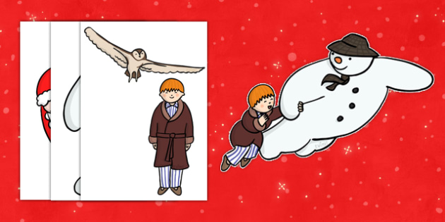 Story Cut-Outs to Support Teaching on The Snowman - cut out, cut outs, cut-outs, the snowman, snowman, snowman cut outs, snowman character cut outs, cutting, story resources, story book