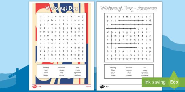 Waitangi Day Word Search - waitangi day, word search, wordsearch, waitangi, treaty