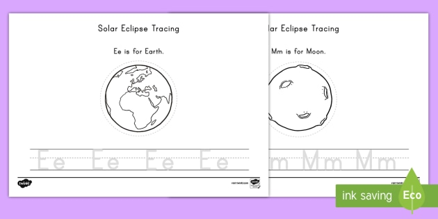 Solar Eclipse Tracing Activity Sheet - Worksheet,  Eclipse, Space, Tracing, Letters