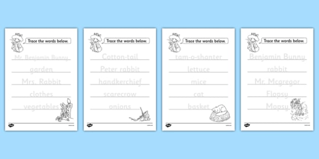 Beatrix Potter - The Tale of Benjamin Bunny Trace the Words Worksheets - beatrix potter, benjamin bunny