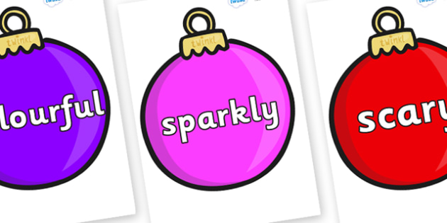 Wow Words on Baubles (Plain) - Wow words, adjectives, VCOP, describing, Wow, display, poster, wow display, tasty, scary, ugly, beautiful, colourful sharp, bouncy