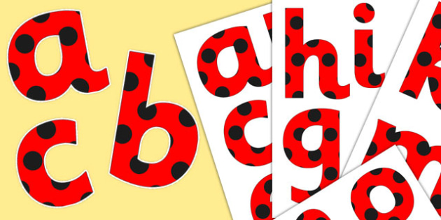 Paper Saving Red with Black Spots Alphabet Numbers and Symbols