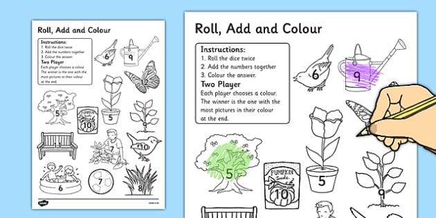 Garden Colour and Roll Worksheet - garden, colour, roll, worksheet, back garden, outside