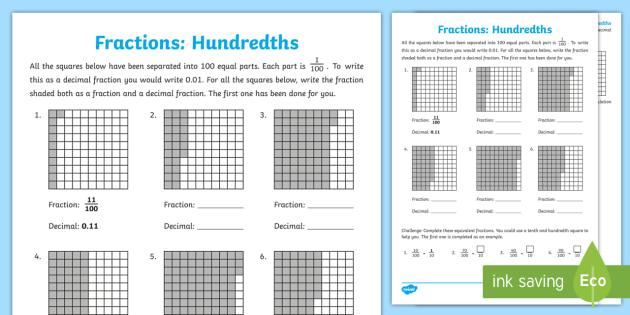 hundredths worksheet worksheet equivalent fractions decimals parts of. Black Bedroom Furniture Sets. Home Design Ideas