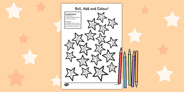 Stars Roll and Colour Dice Addition Activity - stars, addition