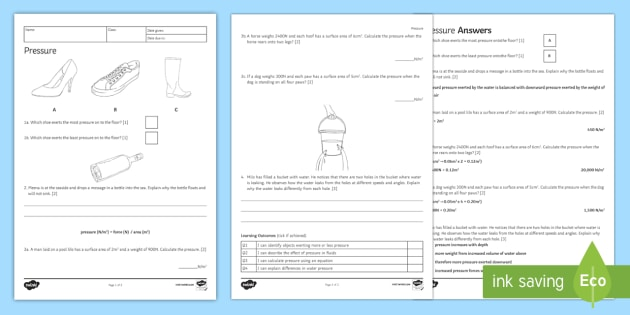 ks3 pressure homework worksheet ks3 science. Black Bedroom Furniture Sets. Home Design Ideas