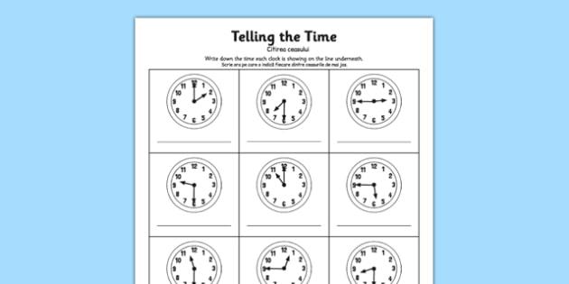 O'clock Half Past and Quarter To Times Activity Sheet Romanian Translation - romanian, o'clock, half past, quarter to, times, activity, worksheet