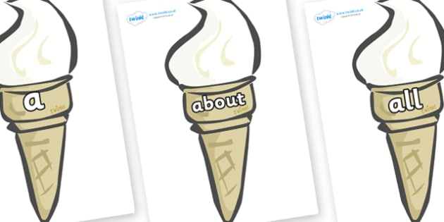 100 High Frequency Words on Ice Creams - High frequency words, hfw, DfES Letters and Sounds, Letters and Sounds, display words