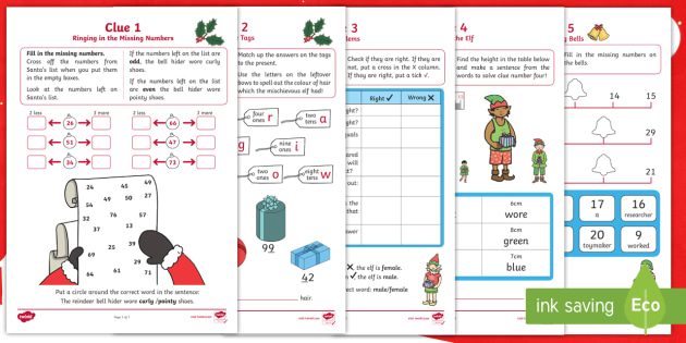 KS1 The Mystery of the Missing Reindeer Bells Maths Game - festivals, calculations, place value, addition and subtraction, problem solving, y1 and y2, murder mystery