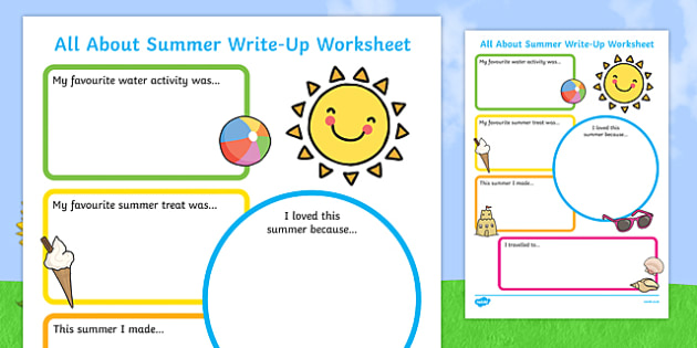 Summer Holiday Write Up Worksheet - seasons, holidays, terms