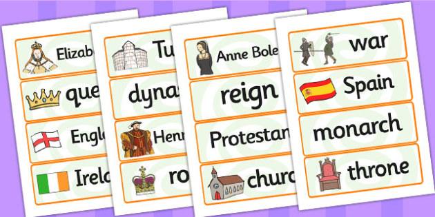 Elizabeth I Word Cards - elizabeth I, elizabeth 1st, word cards, topic cards, themed word cards, themed topic cards, key words, key word cards, keyword