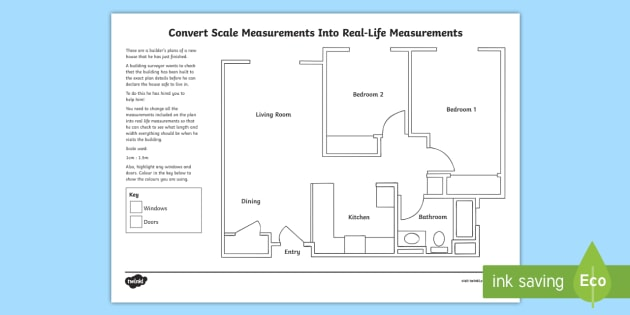 Convert scale measurements into real life measurements a floor convert scale measurements into real life measurements a floor plan worksheet activity sheet malvernweather Images