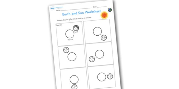Earth and Sun Shading Worksheet - worksheets, worksheet, work