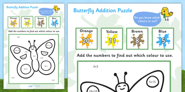 Butterfly Addition Puzzle (0-20) - minibeast investigation, addition, plus, maths game, math, butterfly, minibeasts, Minibeasts, Topic, Foundation stage, knowledge and understanding of the world, investigation, living things, snail, bee, ladybird, bu